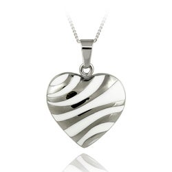 Mondevio Stainless Steel White Enamel Heart Necklace