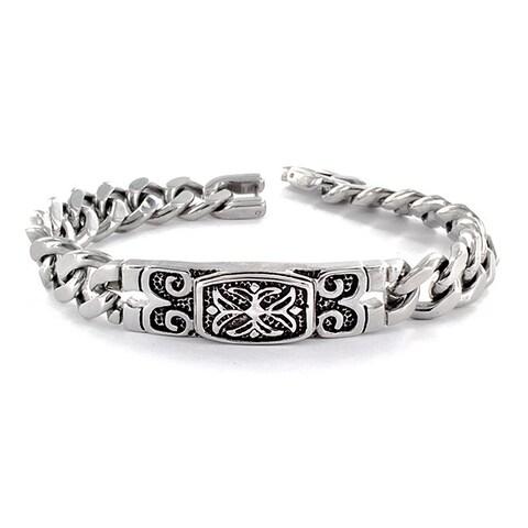 Stainless Steel Celtic Cross Embossed Bracelet