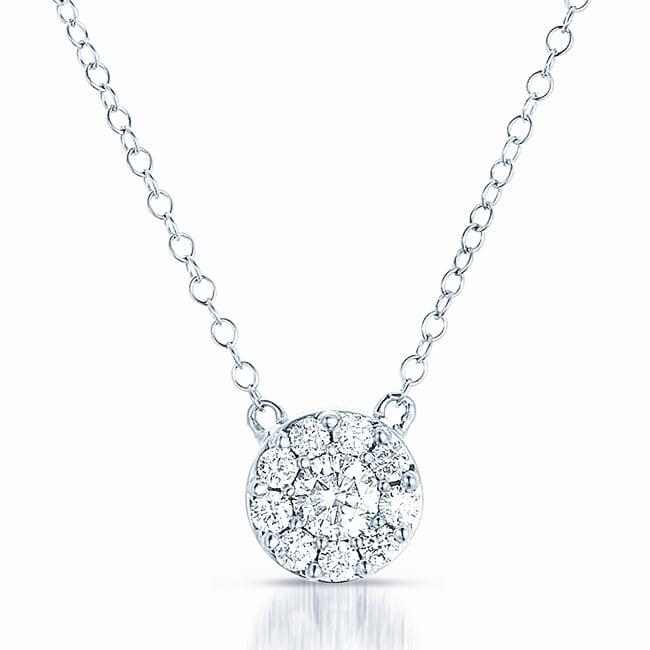 Eloquence 14k White Gold 1/2ct TDW Diamond Round Necklace