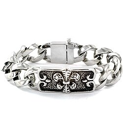 Stainless Steel Fleur de Lis Curb Chain Bracelet|https://ak1.ostkcdn.com/images/products/6624958/Stainless-Steel-Fleur-de-Lis-Curb-Chain-Bracelet-P14191494.jpg?_ostk_perf_=percv&impolicy=medium