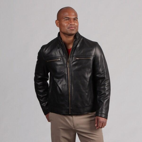 Cole Haan Men's Zip Front Leather Coat