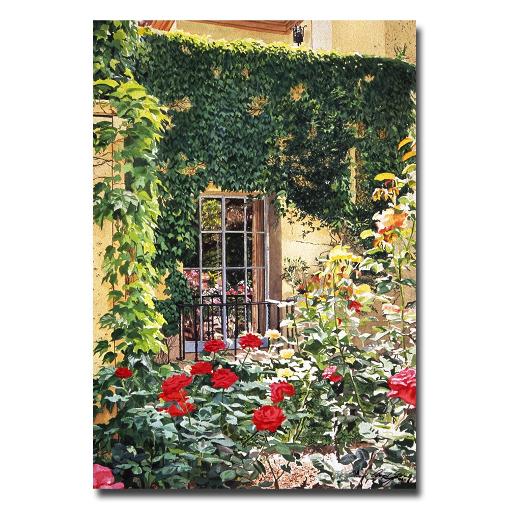 Large David Lloyd Glover 'Afternoon in the Rose Garden' Canvas Art
