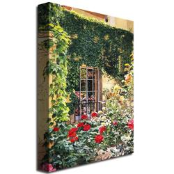 Large David Lloyd Glover 'Afternoon in the Rose Garden' Canvas Art - Thumbnail 1
