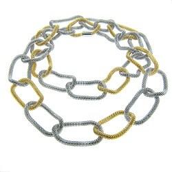 Eternally Haute Goldtone and Silvertone Steel Mesh Link Necklace