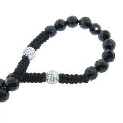 Eternally Haute Onyx and Czech Crystal Macrame Rosary Necklace