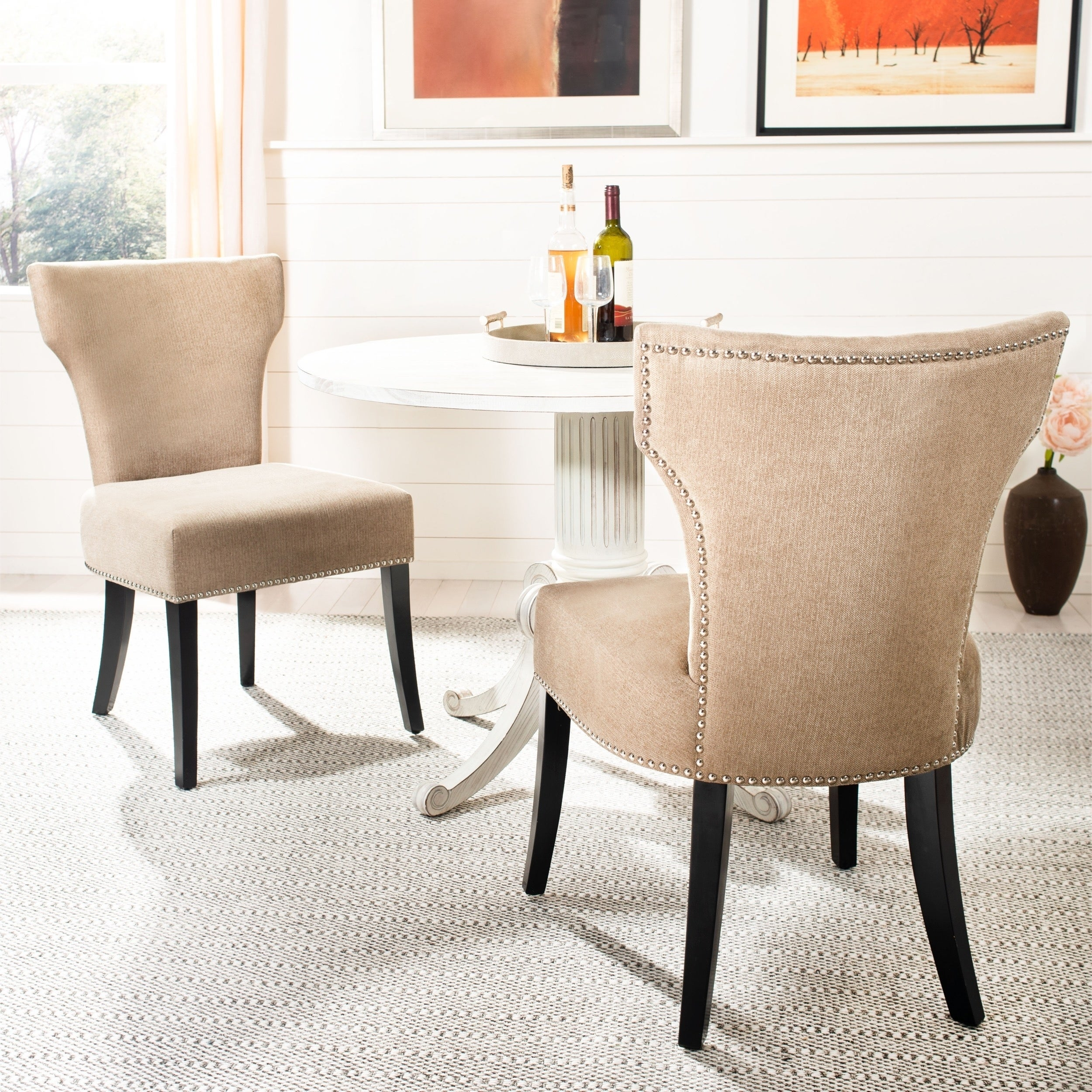 Cool Safavieh Dining Matty Wheat Polyester Nailhead Dining Chairs Set Of 2 Gmtry Best Dining Table And Chair Ideas Images Gmtryco