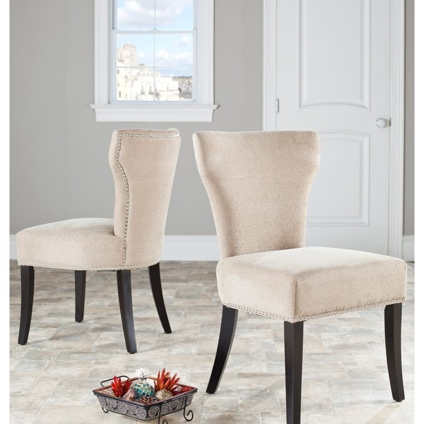 Safavieh En Vogue Dining Matty Wheat Polyester Nailhead Side Chairs (Set of 2)