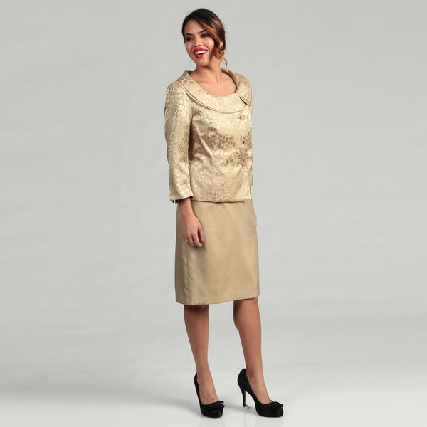 Isabella Women's Double Envelope Collar Skirt Suit