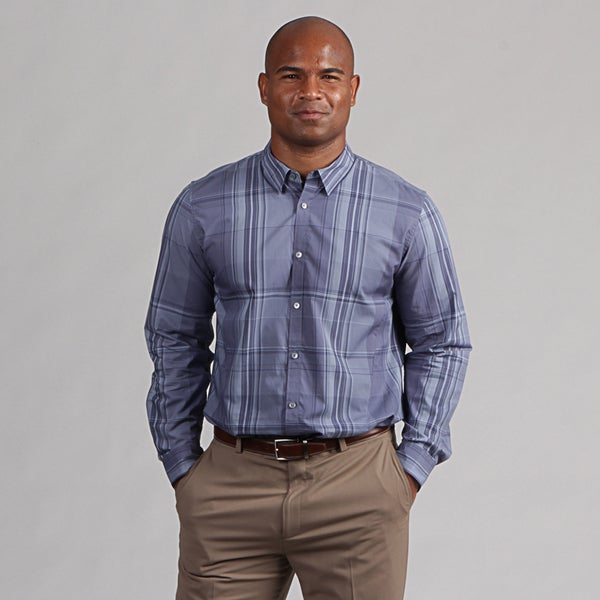 Calvin Klein Men's Blue Illusion Plaid Shirt