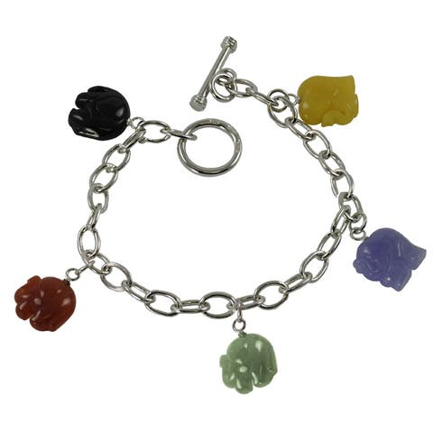 Gems for You Sterling Silver Multi-colored Jade Elephant Toggle Bracelet