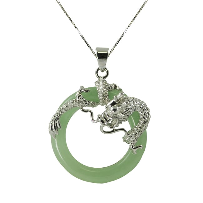 Sterling Silver Dyed Jade Dragon 18 inch Necklace Free Shipping Today Ove