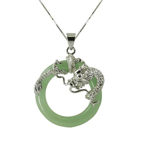 Sterling Silver Dyed Jade Dragon 18-inch Necklace