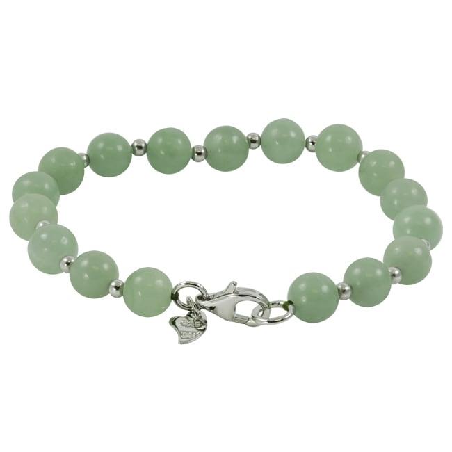 Sterling Silver 8-mm Jade Bead Bracelet