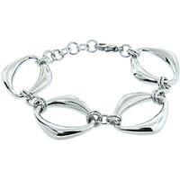Eternally Haute Stainless Steel Diamond-shaped Link Bracelet