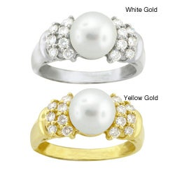 10k Gold Freshwater Pearl and White Zircon Ring (7.5-8 mm)