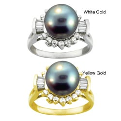 10k Gold Black Round-shape Tahitian Pearl and White Zircon Ring (9-9.5 mm)