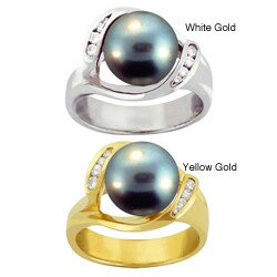 10k Gold Black Tahitian Pearl and White Zircon Ring (9-9.5 mm)