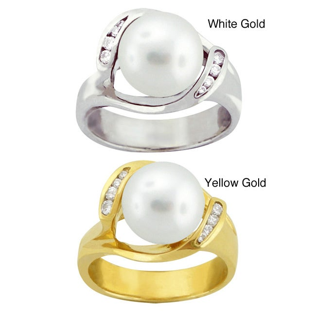 10k Gold Freshwater Pearl and White Zircon Ring (9-9.5 mm)