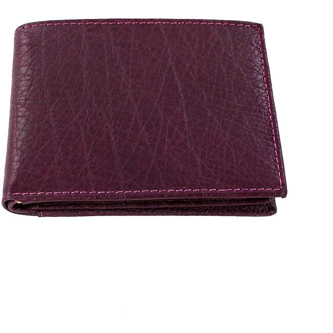 Yaali New York Purple Leather Bi-fold Wallet