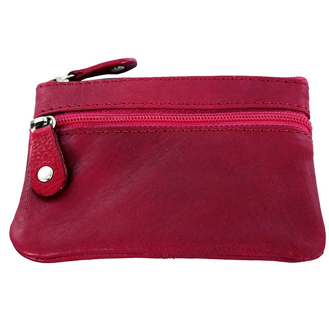 Solid-color Raspberry Leather Keychain Coin Purse with Fabric Lining