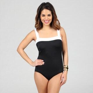 Jantzen Classics Black and White Contrast 1-piece Swimsuit