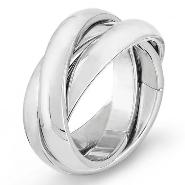 High Polish Intertwined Stainless Steel Ring. Opens flyout.