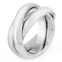High Polish Intertwined Stainless Steel Ring - Silver