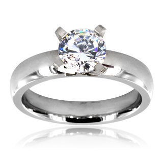 Stainless Steel Prong-set Clear Cubic Zirconia Solitaire Ring