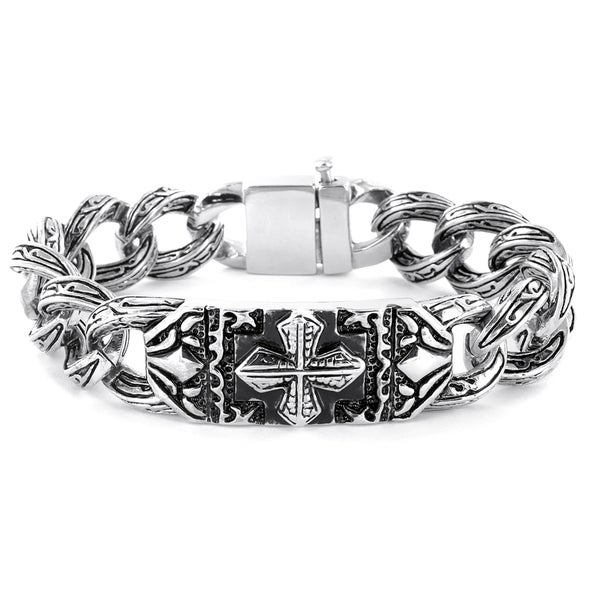 Crucible Stainless Steel Gothic Engraved Cross Bracelet