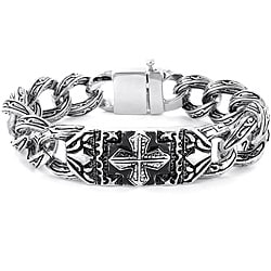 Crucible Stainless Steel Gothic Engraved Cross Bracelet