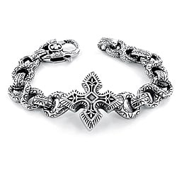 Crucible Stainless Steel Gothic Cross and Infinity Link Bracelet