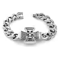 Stainless Steel Iron Cross and Skull Bracelet