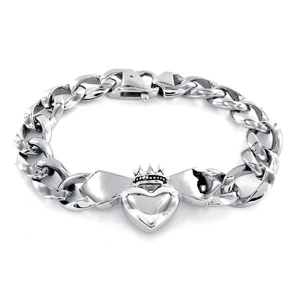 Stainless Steel Men's Crowned Heart Claddagh Chain Bracelet