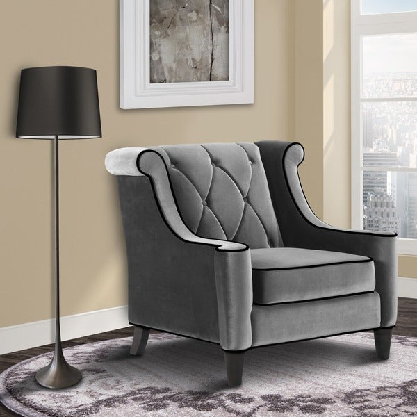 Modern Grey Velvet Chair by Armen Living