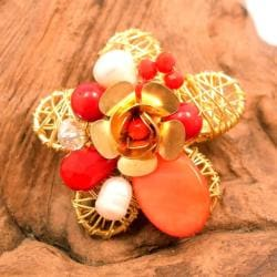 Red Blooming Rose Mother of Pearl Pin/Brooch (Thailand)