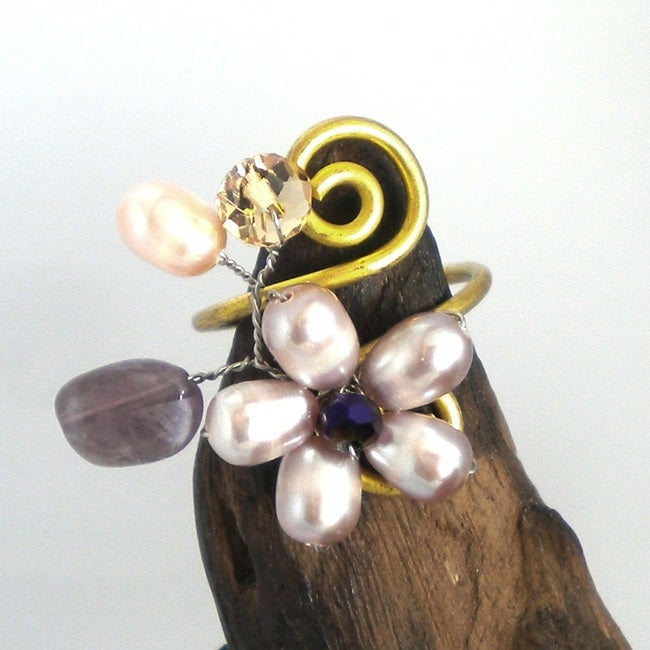 Mystic Pink Freshwater Pearl Brass Ring (Thailand)