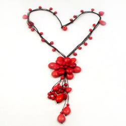 Handmade Floral Red Coral Stone Necklace (Thailand)