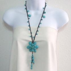 Handmade Blue Turquoise Stone Floral Necklace (Thailand)