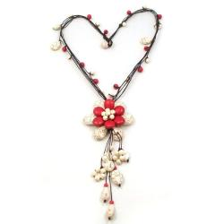 Handmade Floral Red Coral-White Turquoise Stone Necklace (Thailand)