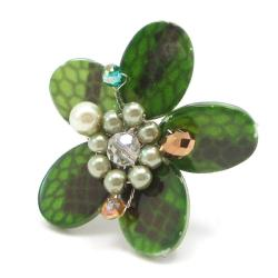 Green Mother of Pearl Flower Ring (Thailand)