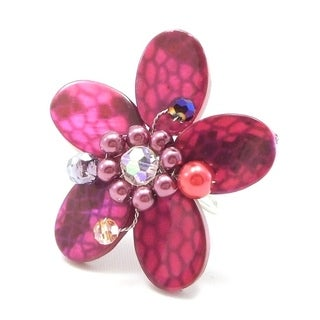 Handmade Pink Snake Pattern Mother of Pearl Flower Adjustable Ring (Thailand)