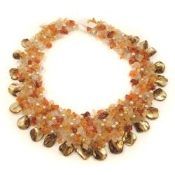 Orange Carnelian and Seashells Cluster Stone Toggle Necklace (Philippines)