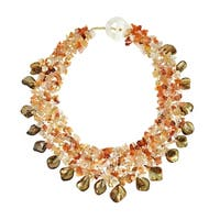Handmade Orange Carnelian and Seashells Cluster Stone Toggle Necklace (Philippines)