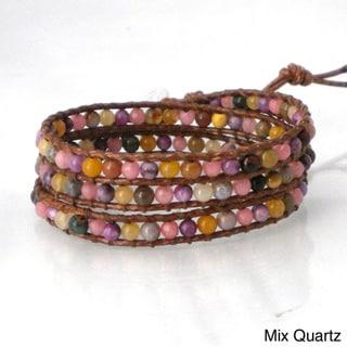 Handmade Hematite/ Agate/ Aventurine/ Multi/ Quartz Stone Wrap Leather Bracelet (Thailand)