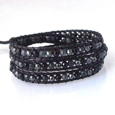 Handmade Mix Stone Wrap Leather Bracelet (Thailand)