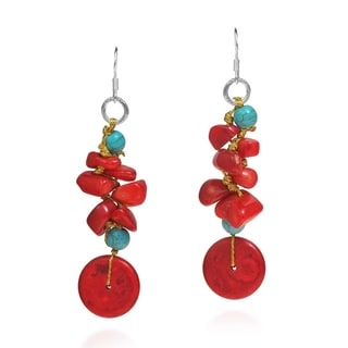 Pretty Donut Synthetic Coral-Turquoise Dangle Red Earrings (Thailand)