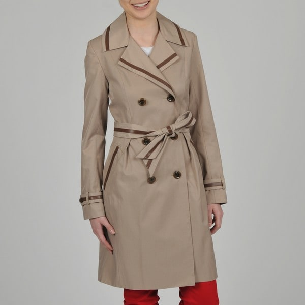 Vince Camuto Women's Leather Trim Double Breasted Trench