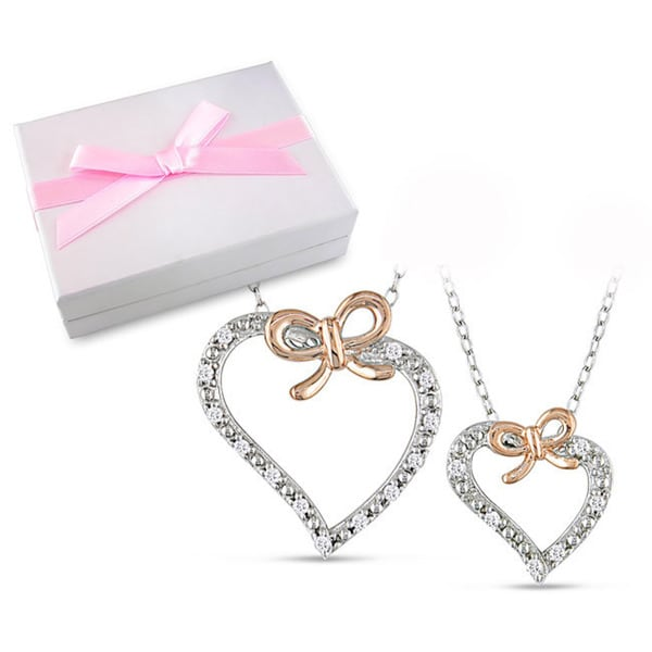 Miadora Sterling Silver 1/5ct TDW Diamond Heart Necklace Mother-Daughter Boxed Set