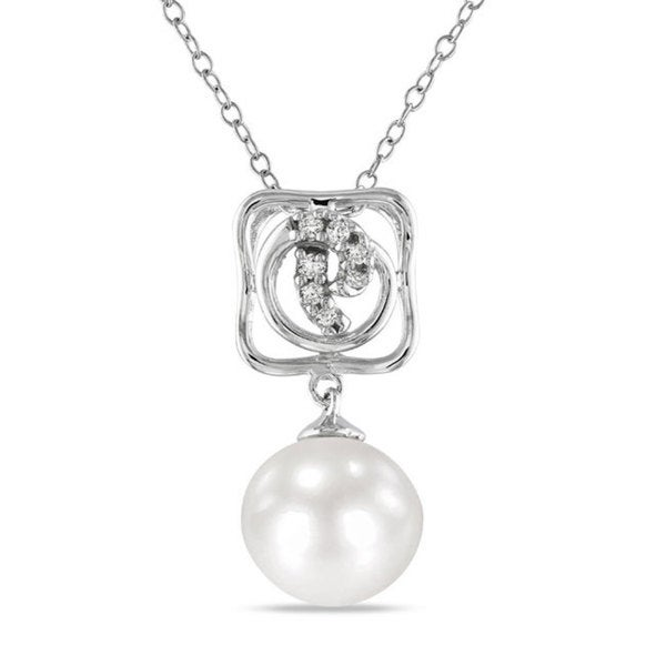 Miadora Sterling Silver Pearl and Diamond Accent Necklace (10-10.5 mm)