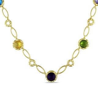 Miadora 18k Gold Overlay Created Multi-gemstone Fashion 16-inch Necklace